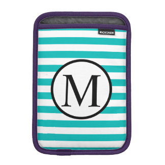Simple Monogram with Aqua Horizontal Stripes iPad Mini Sleeve