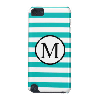 Simple Monogram with Aqua Horizontal Stripes iPod Touch (5th Generation) Covers
