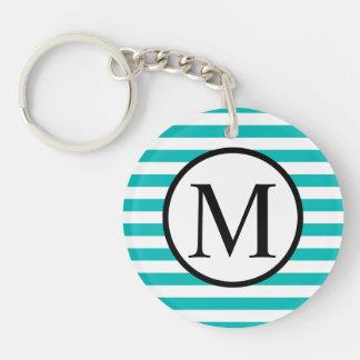 Simple Monogram with Aqua Horizontal Stripes Key Ring