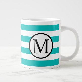 Simple Monogram with Aqua Horizontal Stripes Large Coffee Mug