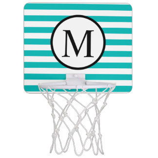 Simple Monogram with Aqua Horizontal Stripes Mini Basketball Hoop