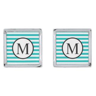 Simple Monogram with Aqua Horizontal Stripes Silver Finish Cuff Links