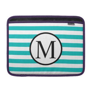 Simple Monogram with Aqua Horizontal Stripes Sleeve For MacBook Air