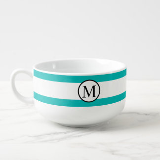 Simple Monogram with Aqua Horizontal Stripes Soup Mug