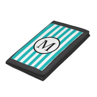 Simple Monogram with Aqua Horizontal Stripes Tri-fold Wallets