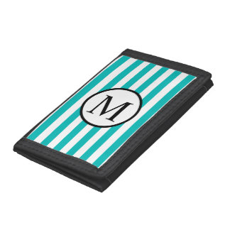 Simple Monogram with Aqua Horizontal Stripes Trifold Wallet