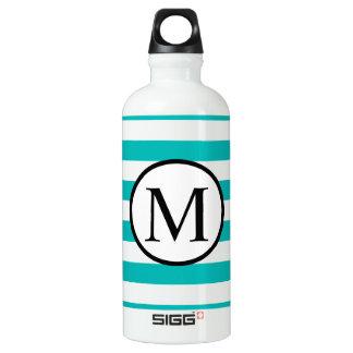 Simple Monogram with Aqua Horizontal Stripes Water Bottle