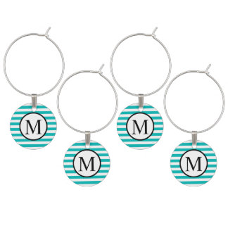 Simple Monogram with Aqua Horizontal Stripes Wine Charm