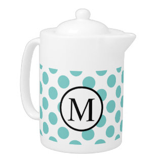 Simple Monogram with Aqua Polka Dots
