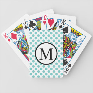 Simple Monogram with Aqua Polka Dots Bicycle Playing Cards