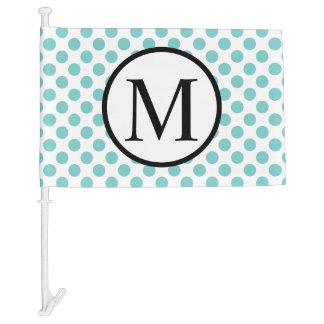 Simple Monogram with Aqua Polka Dots Car Flag