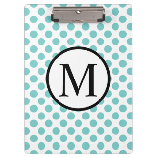 Simple Monogram with Aqua Polka Dots Clipboard