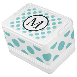 Simple Monogram with Aqua Polka Dots Cooler