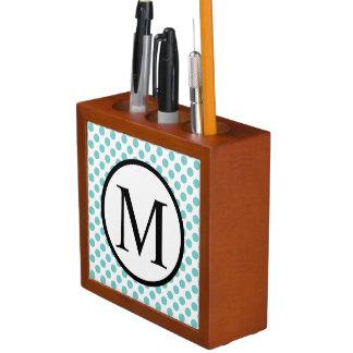 Simple Monogram with Aqua Polka Dots Desk Organiser