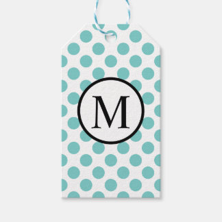 Simple Monogram with Aqua Polka Dots Gift Tags
