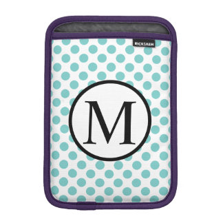 Simple Monogram with Aqua Polka Dots iPad Mini Sleeve