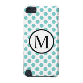 Simple Monogram with Aqua Polka Dots iPod Touch 5G Cases