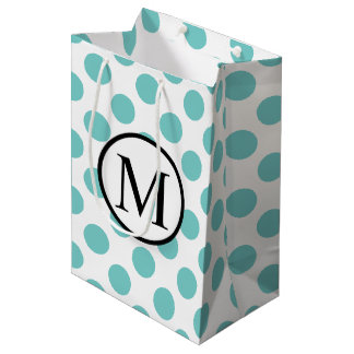 Simple Monogram with Aqua Polka Dots Medium Gift Bag