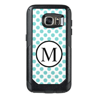 Simple Monogram with Aqua Polka Dots OtterBox Samsung Galaxy S7 Case