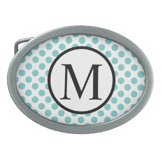 Simple Monogram with Aqua Polka Dots Oval Belt Buckle