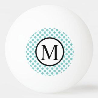 Simple Monogram with Aqua Polka Dots Ping Pong Ball