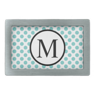 Simple Monogram with Aqua Polka Dots Rectangular Belt Buckles