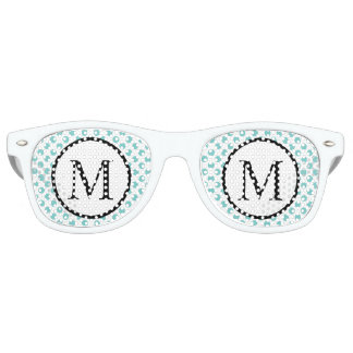 Simple Monogram with Aqua Polka Dots Retro Sunglasses