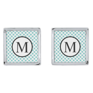 Simple Monogram with Aqua Polka Dots Silver Finish Cufflinks
