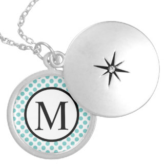 Simple Monogram with Aqua Polka Dots Silver Plated Necklace