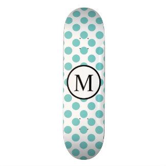 Simple Monogram with Aqua Polka Dots Skate Board Deck