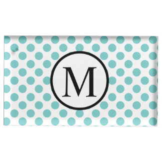 Simple Monogram with Aqua Polka Dots Table Number Holder