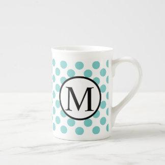 Simple Monogram with Aqua Polka Dots Tea Cup