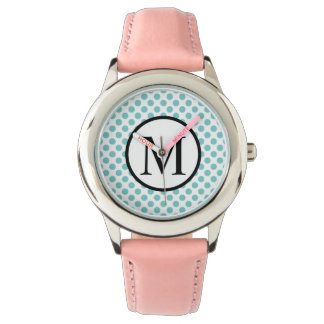 Simple Monogram with Aqua Polka Dots Watch