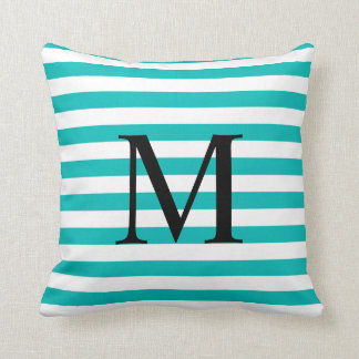 Simple Monogram with Aqua Stripes Cushion
