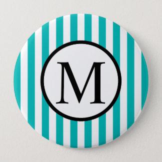 Simple Monogram with Aqua Vertical Stripes 10 Cm Round Badge