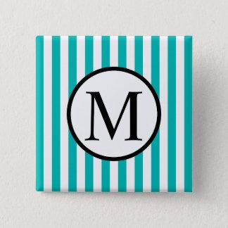 Simple Monogram with Aqua Vertical Stripes 15 Cm Square Badge