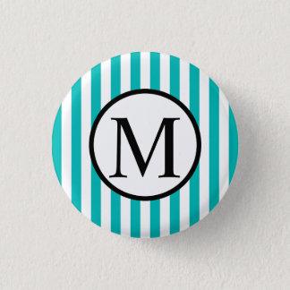 Simple Monogram with Aqua Vertical Stripes 3 Cm Round Badge