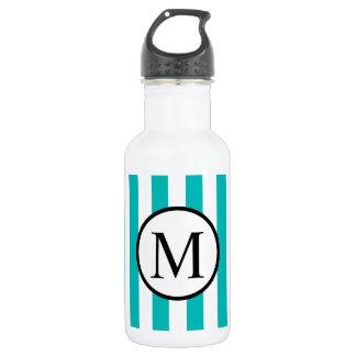 Simple Monogram with Aqua Vertical Stripes 532 Ml Water Bottle