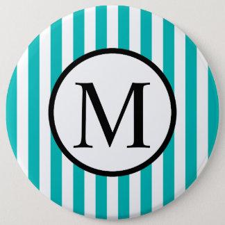 Simple Monogram with Aqua Vertical Stripes 6 Cm Round Badge