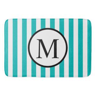 Simple Monogram with Aqua Vertical Stripes Bath Mat