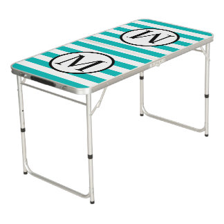 Simple Monogram with Aqua Vertical Stripes Beer Pong Table
