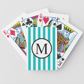 Simple Monogram with Aqua Vertical Stripes Bicycle Playing Cards