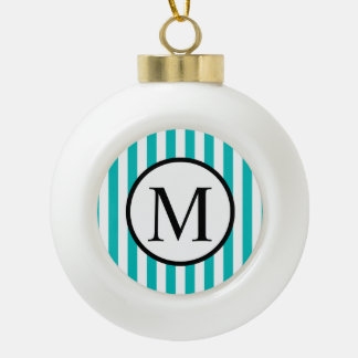 Simple Monogram with Aqua Vertical Stripes Ceramic Ball Christmas Ornament