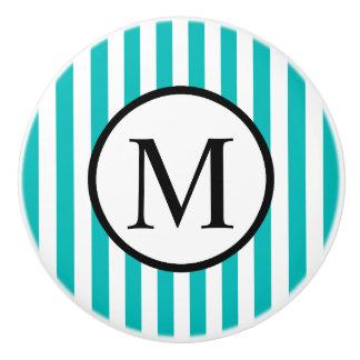 Simple Monogram with Aqua Vertical Stripes Ceramic Knob