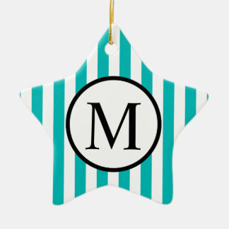 Simple Monogram with Aqua Vertical Stripes Ceramic Ornament