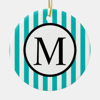 Simple Monogram with Aqua Vertical Stripes Ceramic Ornament