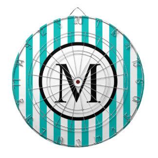Simple Monogram with Aqua Vertical Stripes Dartboard