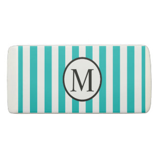 Simple Monogram with Aqua Vertical Stripes Eraser