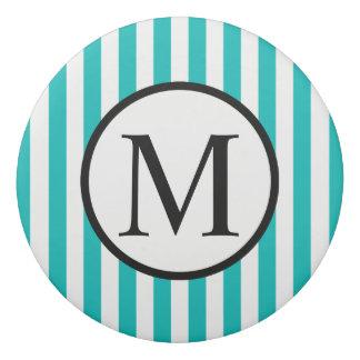 Simple Monogram with Aqua Vertical Stripes Eraser