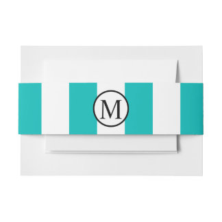 Simple Monogram with Aqua Vertical Stripes Invitation Belly Band